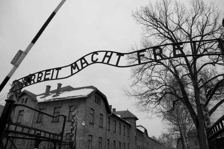 Entrance to Auschwitz concentration camp: Arbeit macht frei