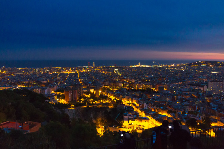Barcelona at night from the Carmel Bunkers